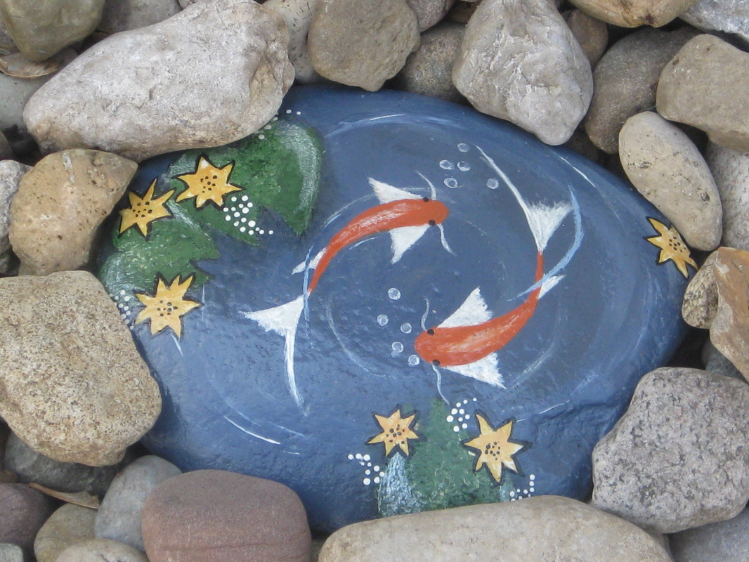 Painted rocks hello it 39 s me for Fish pond rocks